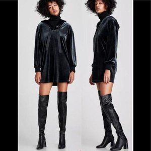 Zara Over The Knee High Cylindrical Heel Boots